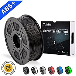 SUNLU ABS Filaments for 3D Printer-Black ABS Filament 1.75 mm,Low Odor Dimensional Accuracy +/- 0.02 mm 3D Printing Filament,2.2 LBS (1KG) Spool 3D Printer Filament for 3D Printers & 3D Pens,Black