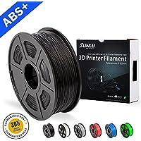 SUNLU ABS Filaments for 3D Printer-Black ABS Filament 1.75 mm,Low Odor Dimensional Accuracy +/- 0.02 mm 3D Printing Filament,2.2 LBS (1KG) Spool 3D Printer Filament for 3D Printers & 3D Pens,Black
