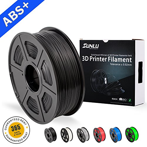 SUNLU ABS Plus Filaments for 3D Printer-Black ABS Filament 1.75 mm,Low Odor Dimensional Accuracy +/- 0.02 mm 3D Printing Filament,1KG,Black