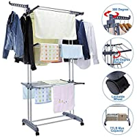 EBTOOLS Foldable Laundry Drying Rack, 3 Tiers Clothes Drying Rack Home Household Cloth Shoes Hanger