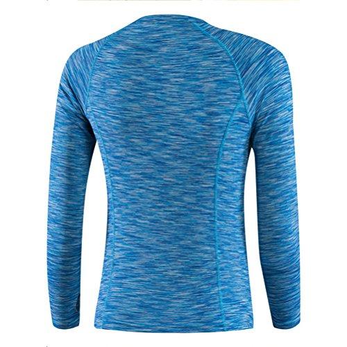 Zhhlaixing Womens Gym Sports Shirt Yoga Tops Fitness Quick Dry Long Sleeve T-Shirt blue
