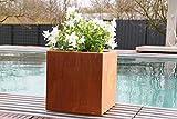 Blumenkübel 30x30x30 cm Cortenstahl Rost - - Quadratisch für den Garten - Pflanzkübel - Blumentopf - von Beliadesign