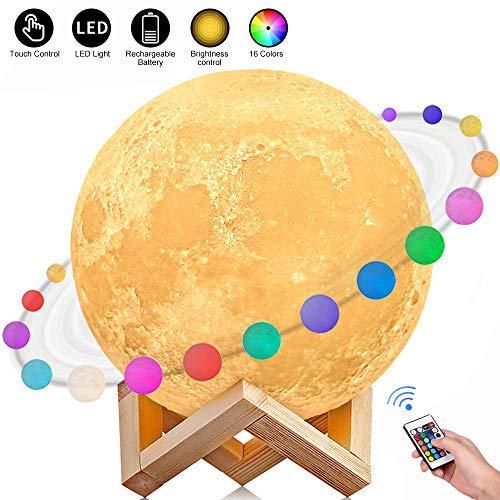 AGM Lampe Lune 3D 15CM 16 Couleurs Télécommande Tactile USB Rechargeable Veilleuse avec Support en Bois Lampe de Décoration, Cadeau pour Fête/Noël