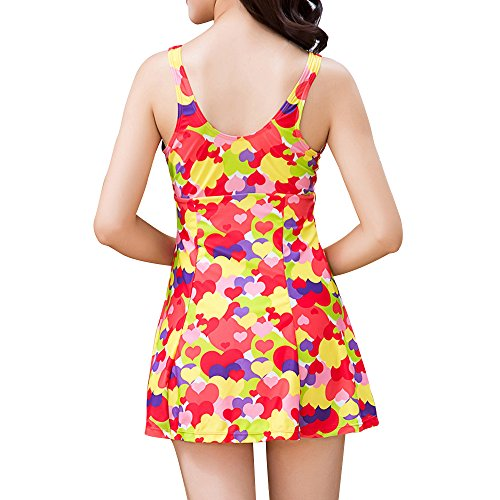 Bikini Badekostüm FOCLASSY Damen Sexy Einteiler BIKINI Swimdress Sleeveless Bunte Blase Gedruckt Plus Size Hohe Taille Push Up Bademode mit Chest Pad -1505 Red