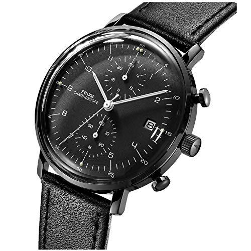 Herren Uhr FEICE Armbanduhren mit Lederarmband Gewölbtes Zifferblatt Quartz Watch Uhren Bauhaus...