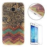 CaseHome Compatible for Samsung Galaxy Core Prime SM-G360 Silicone Coque Housse Transparente Flexible Resistante TPU Protecteur Housse Etui - Rayures Colorées Fleur