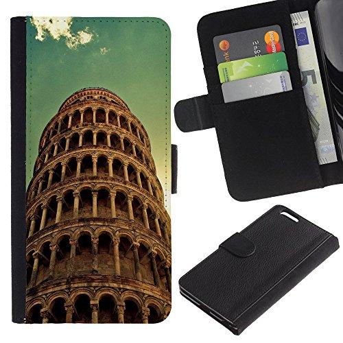 "Graphic4You Rome Colosseum Postkarte Ansichtskarte Design Brieftasche Leder Hülle Case Schutzhülle für Apple iPhone 6 Plus / 6S Plus (5.5"") Pisa Tour"