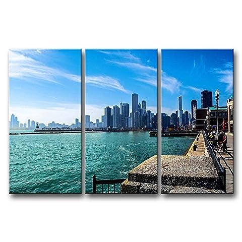3Stück Art Wand Bild Chicago und Lake Michigan Bilder Prints auf Leinwand City der Decor Öl für Home Moderne Dekoration für Badezimmer