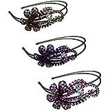 Set Of 3 Crystal Flower Headbands One Each Of 3 Color Topez-Purple-Pink U86121-0057topezpurplep