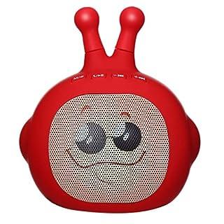 Bluetooth Lautsprecher, Amuse-MIUMIU 3W Supersonic Expression Man Tragbarer/Wiederaufladbarer Lautsprecher Bluetooth USB/TF/LED Hochleistungs 10m Induktion Indoor, Outdoor, Auto (Rot)