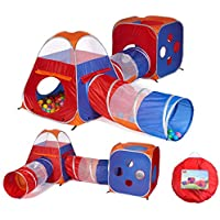 Utex 4 in 1 Pop Up Kids Play Tent Tunnel Ball Pit, PlayHouse with 2 Tunnel, 2 Tents and Zipper Storage Bag for Boys, Girls, Babies and Toddlers for Indoor & Outdoor Use