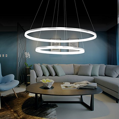 KJLARS Modern Pendelleuchte Hängelampe 2- LED-Ring Hängeleuchte Pendellampe Höhenverstellbar Pendellänge maximum 150 cm Deckenleuchte für Wohnzimmer Schlafzimmer Esszimmer