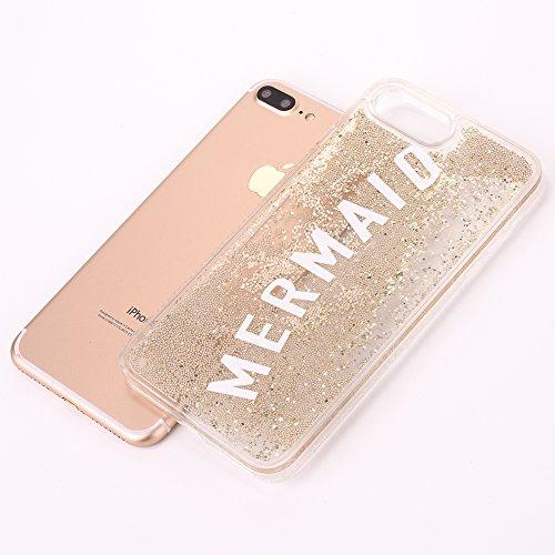 iPhone 6 Plus/6S Plus 5.5 Hülle, Voguecase Silikon Schutzhülle / Case / Cover / Hülle / TPU Gel Skin für Apple iPhone 6 Plus/6S Plus 5.5(Perlen Treibsand-girl boss-Gold) + Gratis Universal Eingabestif Perlen Treibsand -MERMAID-Gold
