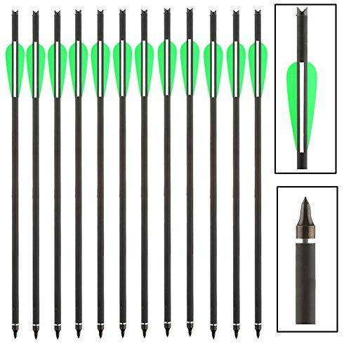 VERY100 12 x Armbrustpfeile Carbonpfeile Armbrustbolzen Bolzen für Armbrust Grün (16 Zoll)