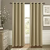Blackout Curtain Panels Window Treatment - Aquazolax Plain Grommet Top Thermal Insulated Curtains Draperies for Living Room (Set of 2 Panels, 52x84 Inch(132cm x 213cm), Taupe/Khaki)