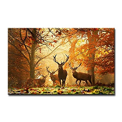 Marron Décoration murale Tableau Cerf en automne Forêt photos des Impressions sur toile Animal le Décor à l'huile pour Home moderne Décoration d'impression