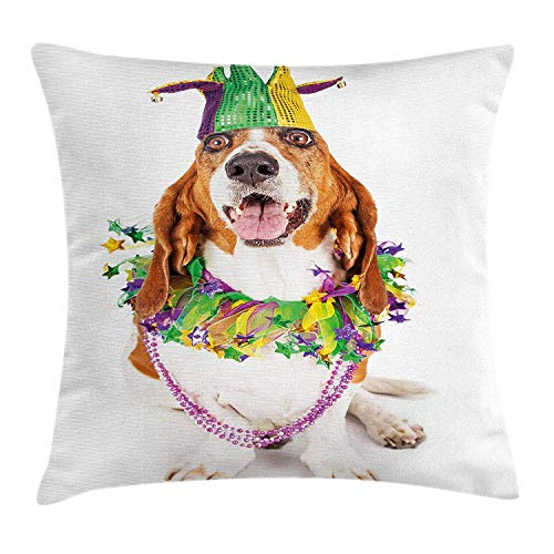 VVIANS Mardi Gras Throw Pillow Cushion Cover by, Happy Smiling Basset Hound Dog Wearing a Jester Hat Neck Garland Bead Necklace, Decorative Square Accent Pillow Case, Multicolor20X20 inch