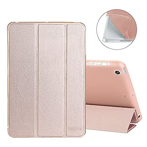 TOROTON Case for iPad Mini 1/2/3, Smart Case Cover Shell Tri-Fold Guard Anti-Scratch Soft Bumper with Closing Magnetic Stand Automatic Wake/Sleep Transparent Back for Apple iPad Mini 1/2/3 (Rose