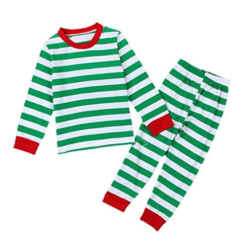Unisex Kinder Mädchen Freizeitkleidung Schlafanzug Pyjama Bio-Baumwolle Nachtwäsche Streifen Baby Set - Grün Streifen, 44cm 5-6 Years Baby (Bio-baby-nachtwäsche)