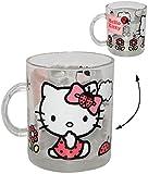 Unbekannt Glas Henkeltasse -  Katze - Hello Kitty  - 340 ml - Teetasse / Glastasse - Saftglas - Trinktasse mit Henkel - Tasse Becher - Porzellantasse - Tassen / Teegl..