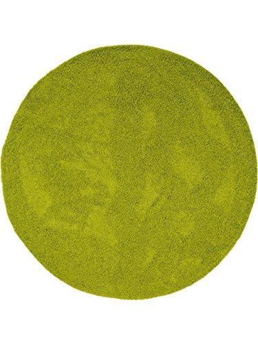 benuta Alfombra Shaggy pelo largo Swirls Verde ø 120 cm redondo - 100% Polipropileno - Monocolor - Tejido a máquina - Cuarto de estar