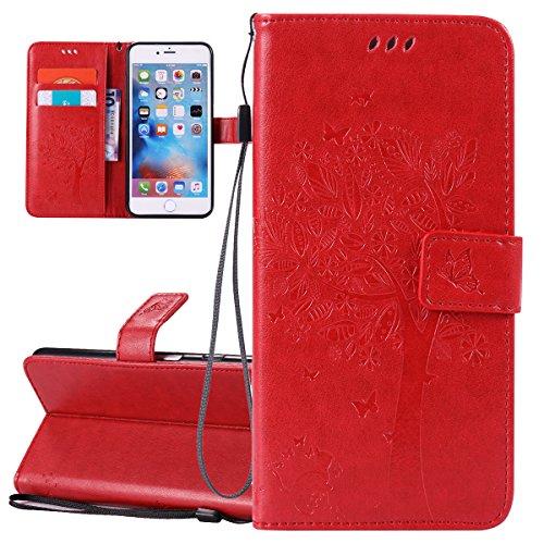 Custodia iPhone 6 Plus, ISAKEN Custodia iPhone 6S Plus, iPhone 6 Plus Flip Cover con Strap, Elegante borsa Tinta Unita Piuma Design in Sintetica Ecopelle PU Pelle Protettiva Portafoglio Case Cover per Albero: rossa