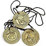 Piraten-Party Halsketten mit Totenkopf-Münze Goldmünzen 12 Stück Mitgebsel Geburtstagstüte Palandi®