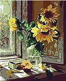 Peinture à l'huile par numéros, Diy peint à la main photos de tournesol chaudes peinture sur toile salon mur Art Home Decor cadeau - 16 * 20 pouces sans cadre