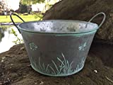 Round Metal Vintage Shabby Planter Pot Dragonfly Butterfly Design Herbs Bulbs