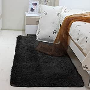 multiware tapis de salon carpette chambre tapis shaggy carr noir cuisine maison. Black Bedroom Furniture Sets. Home Design Ideas