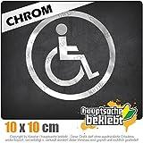 Rollstuhlfahrer Design 2 10 x 10 cm IN 15 FARBEN - Neon + Chrom! Sticker Aufkleber