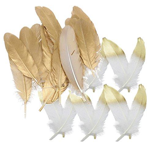 MagiDeal 24 Stück natürliche Gänsefeder Feder für Handwerks dekoration 15-20cm Weiß Und Gold (Gold-handwerk)
