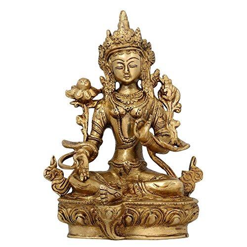 Arredamento casa buddista seduta Tara Buddha ottone statua religiosa regali 20,96 cm