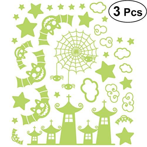 BESTOYARD PVC Fledermaus Wandtattoos im Dunkeln Leuchten Fledermäuse Leuchtende Tapete Fenster Aufkleber für Halloween Party Dekoration 3 Stücke (grün)