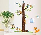 XXXL Wandtattoo Meßlatte Maßband Messlatte Wandsticker Sticker Vögel Eichhörnchen Fuchs Baum Kinderzimmer