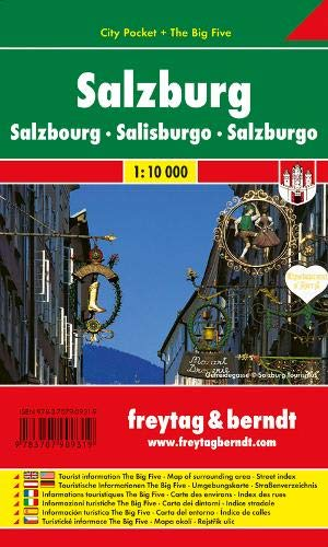 Freytag Berndt Stadtpläne, Salzburg, City Pocket + The Big Five, wasserfest - Maßstab 1:10.000: Stadskaart 1:10 000