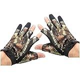 Jenrish 3 Shorter Finger Waterproof Fishing Gloves Hunting Anti-Slip Mitts Shooting Camo