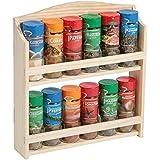 Kesper de especias, especias, Gewürzkarusell, estantería, 12, FSC madera de pino, madera natural, tamaño: aproximadamente 28 x 6 x 30 cm