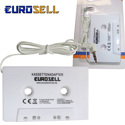 Adaptateur cassette Eurosell blanc pour autoradio Prise jack de 3,5 mm iPhone Smartphone iPhone Tablet Mp3 iPod Apple Plus 3 4 5 6 6S iPad 7 8 8