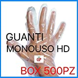 500 GUANTI MONOUSO HD TRASPARENTI IN BOX