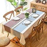 SONGHJ Mantel de Lino Decorativo de Tela Escocesa con Borla Impermeable A Prueba de Aceite Grueso Rectangular Boda Mesa de Comedor Cubierta Mesa de té Paño Azul y marrón 120x160cm