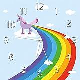 Wallario Glas-Uhr Echtglas Wanduhr Motivuhr • in Premium-Qualität • Größe: 30x30cm • Motiv: Einhorn mit Regenbogen aus Dem Hintern