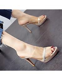 GTVERNH Zapatos De Mujer Drag Verano Impermeable De 10Cm Plataforma Zapatos De Tacon Alto De Gasa