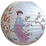 AAF Nommel ® 400, Lampion 1 Stk. Papier weiss bunt bemalt rund. Motiv asiatische Frau und Kirschbaum. Durchmesser 40 cm