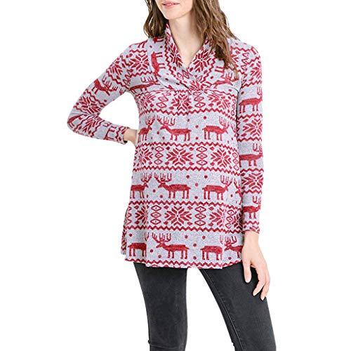 Amphia - Umstandsmode Oberteil - Damen Schwangere Frauen Weihnachten Langarm Shirt(Rot,XL)