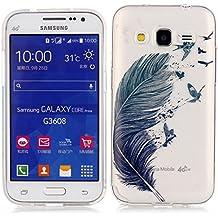 Galaxy Core Prime Funda, Samsung Galaxy Prevail LTE Funda, Lifeturt [ Plumas de colores ] TPU silicona para Diseño Estilosa funda de diseño de TPU blando de alta calidad Bumper con Absorción de Impactos y Anti-Arañazos Espalda Case Cover para Samsung Galaxy Core Prime G360 / Prevail LTE