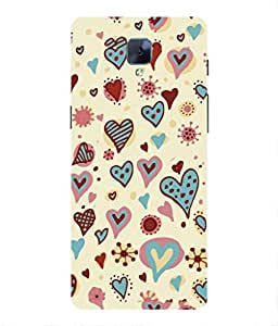 For Oneplus 3T -Livingfill- Holiday seamless background with hearts Printed Designer Slim Light Weight Cover Case For Oneplus 3T (A Beautiful One of the Best Design with a Classic Theme & A Stylish, Trendy and Premium Appeal/Quality) (Red & Green & Black & Yellow & Other)