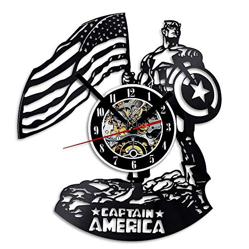 Captain America Vinyl Record Wall Clock, Vintage Film Wall Art Deco Clock, 30 cm (12 in)