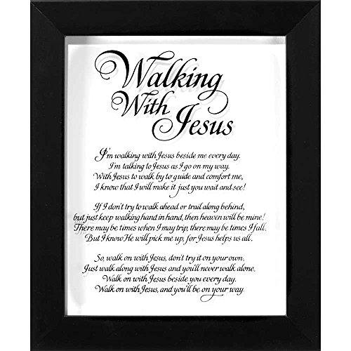Walking mit Jesus Kalligraphie Glas, gerahmt, 10x 8Holz Wandschild Aufschrift -