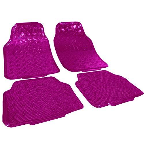WOLTU AM7161 Auto Fußmatten Matten, ALU Look Chorm Optik, Universal Riffelblech Pink